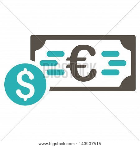 Dollar and Euro Cash icon. Vector style is bicolor flat iconic symbol with rounded angles, grey and cyan colors, white background.