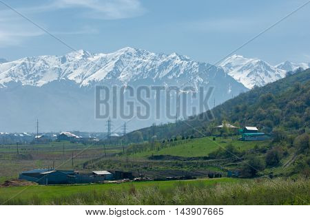 Mountains In The Spring, Two Snow-capped Peaks,