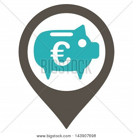 Euro Bank Pointer icon. Vector style is bicolor flat iconic symbol with rounded angles, grey and cyan colors, white background.