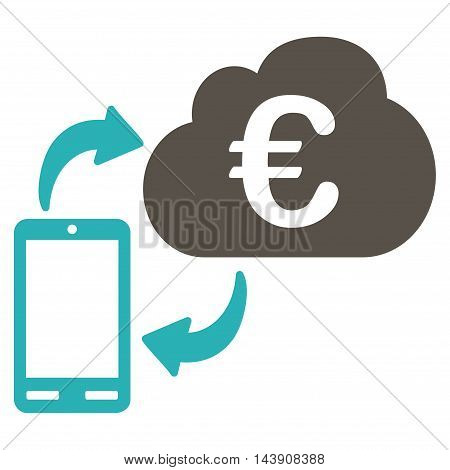 Euro Cloud Banking icon. Vector style is bicolor flat iconic symbol with rounded angles, grey and cyan colors, white background.