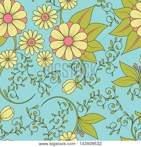 Seamless Cute Pattern With Doodle Flower And Leaf. Textile, Backdrop, Cover, Wrapper.