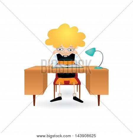 Vector colorful illustration of a blond boy with eyeglasses sitting behind a brown desk with a blue lamp on it and reading a book with great interest. Isolated on white.