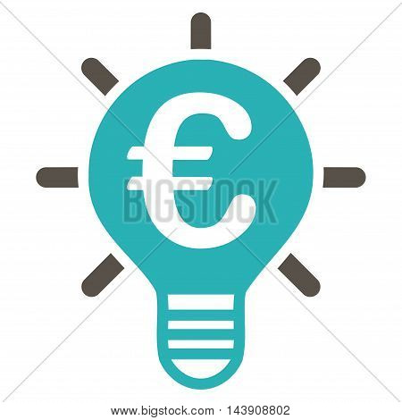 Euro Innovation icon. Vector style is bicolor flat iconic symbol with rounded angles, grey and cyan colors, white background.