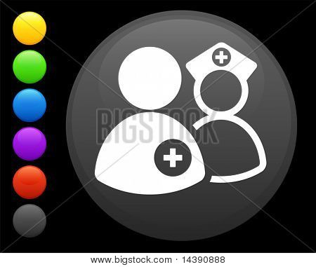 nurse and doctor icon on round internet button original vector illustration 6 color versions included