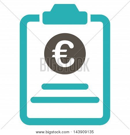 Euro Prices Pad icon. Vector style is bicolor flat iconic symbol with rounded angles, grey and cyan colors, white background.