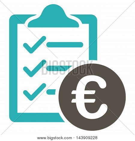 Euro Purchase Pad icon. Vector style is bicolor flat iconic symbol with rounded angles, grey and cyan colors, white background.