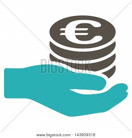 Euro Salary icon. Vector style is bicolor flat iconic symbol with rounded angles, grey and cyan colors, white background.