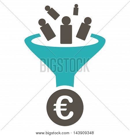 Euro Sale Conversion icon. Vector style is bicolor flat iconic symbol with rounded angles, grey and cyan colors, white background.