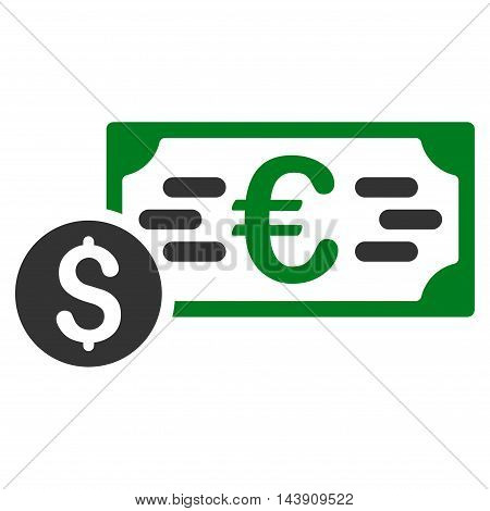 Dollar and Euro Cash icon. Vector style is bicolor flat iconic symbol with rounded angles, green and gray colors, white background.
