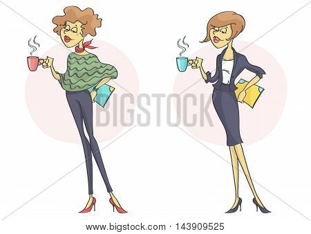 Successful business woman or a clerk smiling confidently with cup of coffee or tea in her hand. Set of two characters.