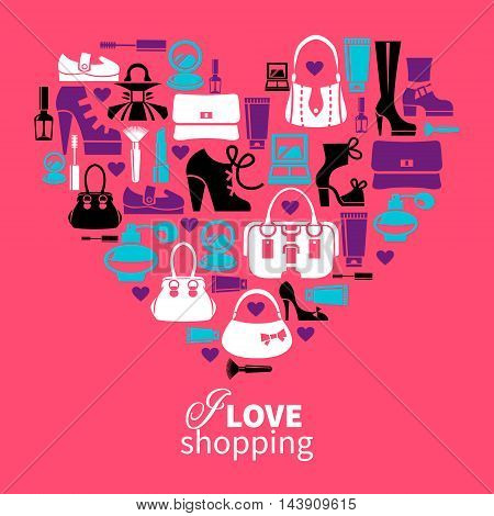 Shopping love - heart with set of vector fashion women€s icons