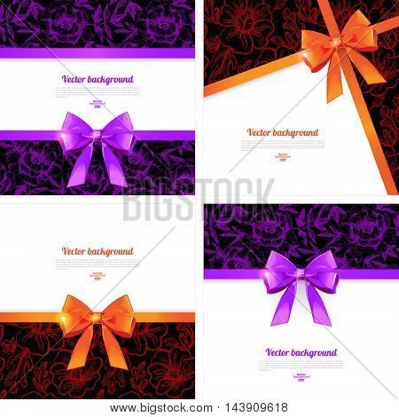 Set of card with gift bows. Elegant backgrounds with bow