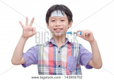 Young asian sick boy holding digital thermometer and smiles over white