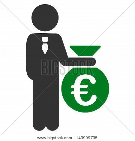 Euro Banker icon. Vector style is bicolor flat iconic symbol with rounded angles, green and gray colors, white background.