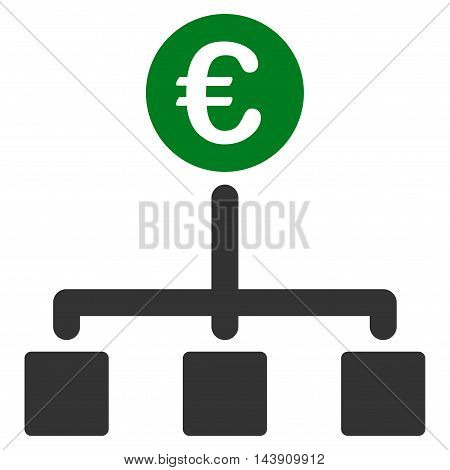 Euro Cash Flow icon. Vector style is bicolor flat iconic symbol with rounded angles, green and gray colors, white background.