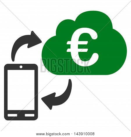 Euro Cloud Banking icon. Vector style is bicolor flat iconic symbol with rounded angles, green and gray colors, white background.
