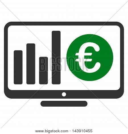 Euro Market Monitoring icon. Vector style is bicolor flat iconic symbol with rounded angles, green and gray colors, white background.