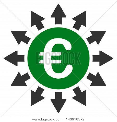 Euro Payments icon. Vector style is bicolor flat iconic symbol with rounded angles, green and gray colors, white background.