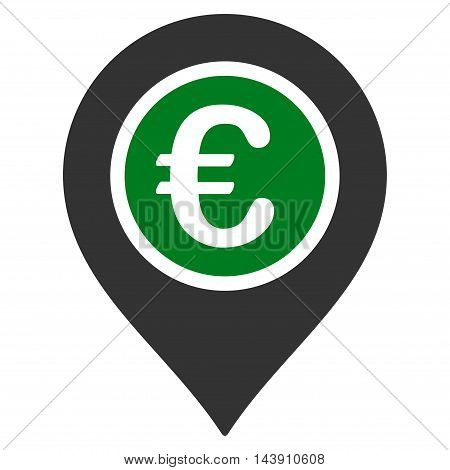 Euro Pointer icon. Vector style is bicolor flat iconic symbol with rounded angles, green and gray colors, white background.