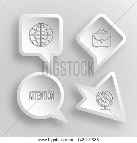 4 images: globe, briefcase, attention. Education set. Paper stickers. Vector illustration icons.