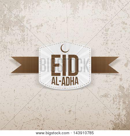 Eid al-Adha festive white Emblem on brown Ribbon