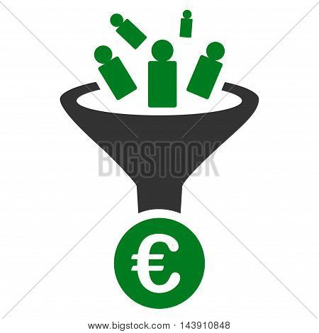Euro Sale Conversion icon. Vector style is bicolor flat iconic symbol with rounded angles, green and gray colors, white background.