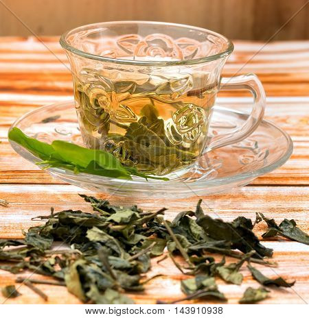 Green Tea Drink Shows Refreshments Thirsty And Refresh