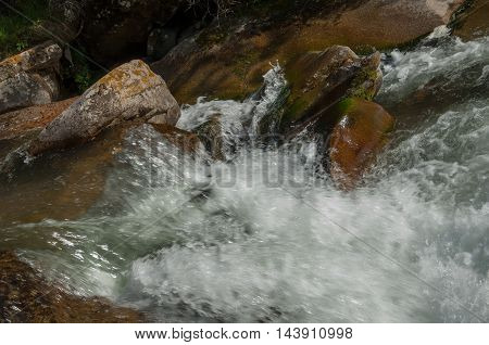Kazakhstan, The Tien Shan Mountains. Trans-ili Alatau. High Plateau Assy. Mountain River, In The Mou