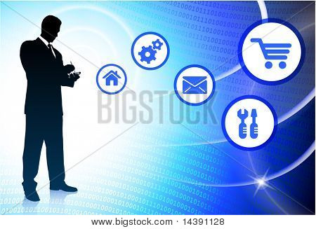 Businessman on Abstract Light Streak Background Original Vector Illustration
