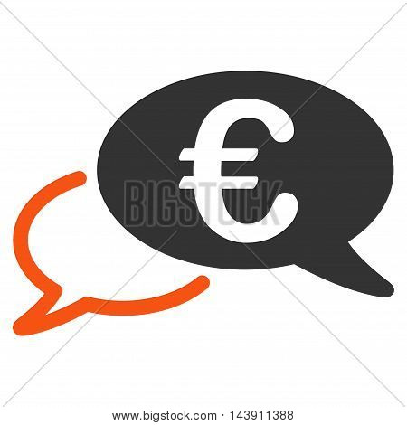 Euro Chat icon. Vector style is bicolor flat iconic symbol with rounded angles, orange and gray colors, white background.