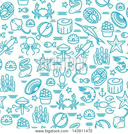 Outline seafood, sushi seamless vector pattern. Marine background with fish and seaweed illustration