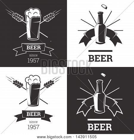 Set of beer insignia logos with glassware isolated on white background. Vintage ale and lager emblem for brewery. Vector elements for label or badge design. EPS vector illustration.