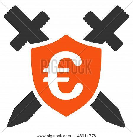 Euro Guard Shield icon. Vector style is bicolor flat iconic symbol with rounded angles, orange and gray colors, white background.