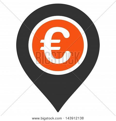 Euro Pointer icon. Vector style is bicolor flat iconic symbol with rounded angles, orange and gray colors, white background.