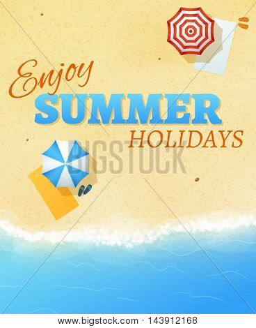 Summer beach party banner flyer background vector template. Vacation and holiday, travel on sea or ocean illustration