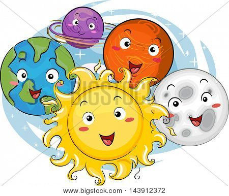 Mascot Illustration of the Sun Surrounded by the Planets of the Solar System