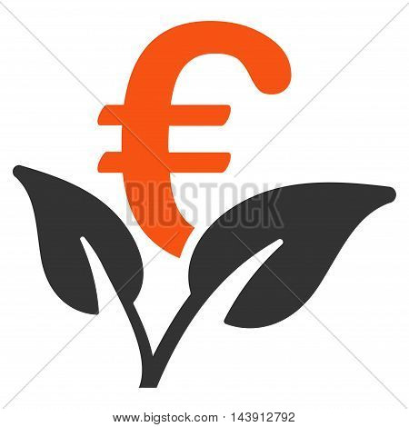 Euro Startup Sprout icon. Vector style is bicolor flat iconic symbol with rounded angles, orange and gray colors, white background.