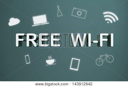 Free wifi sign. Smart wireless connection futuristic concept icon .