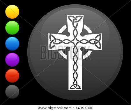 cross icon on round internet button original vector illustration 6 color versions included