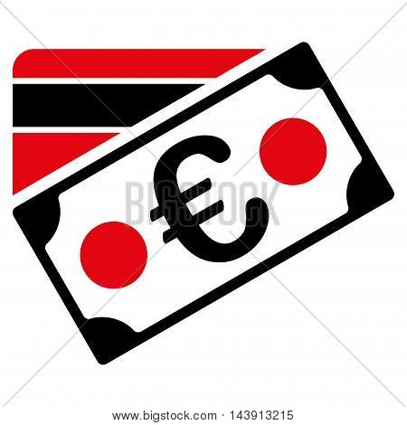 Euro Banknote and Credit Card icon. Vector style is bicolor flat iconic symbol with rounded angles, intensive red and black colors, white background.