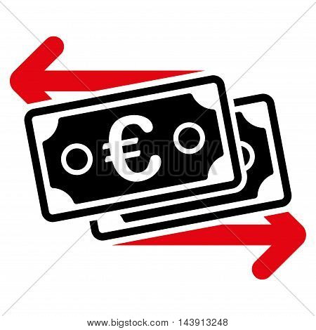 Euro Banknotes Change icon. Vector style is bicolor flat iconic symbol with rounded angles, intensive red and black colors, white background.