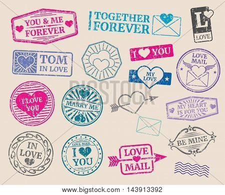 Vintage postage stamps vector set. Romantic date, love, valentines day. Collection of seal with text marry me and i love you illustration