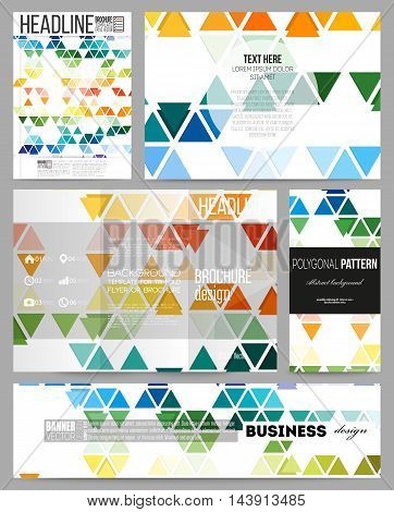 Set of business templates for presentation, brochure, flyer or booklet. Abstract colorful business background, modern stylish hexagonal and triangle vector texture