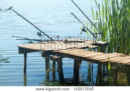 Fishing rods on old pontoon on a lake shore full of reed