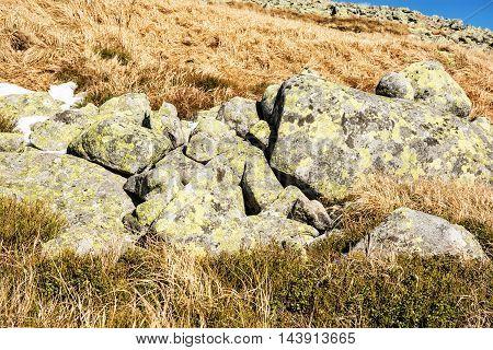 Big stones Chopok Low Tatras Slovak republic. Hiking theme. Beauty in nature.