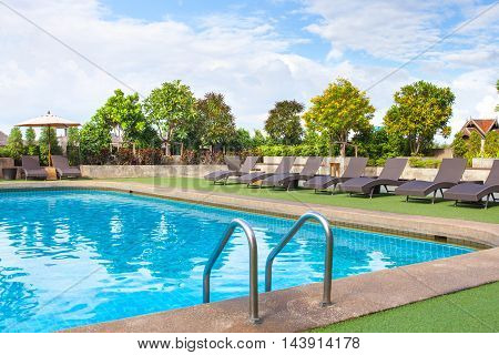 Chair Side Swimming Pool Relax Place. View From Eye