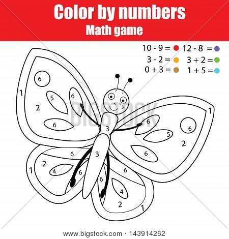 Coloring page with butterfly. Color by numbers educational children game, learning mathematics kids activity, printable sheet
