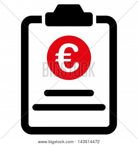 Euro Prices Pad icon. Vector style is bicolor flat iconic symbol with rounded angles, intensive red and black colors, white background.