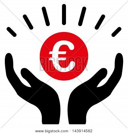 Euro Prosperity icon. Vector style is bicolor flat iconic symbol with rounded angles, intensive red and black colors, white background.