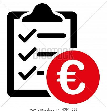 Euro Purchase Pad icon. Vector style is bicolor flat iconic symbol with rounded angles, intensive red and black colors, white background.